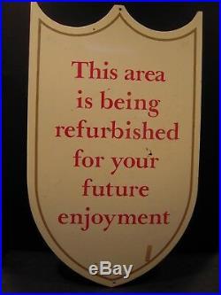 Walt Disney World Construction Sign Prop Used for MK Rehabs Wooden Sign
