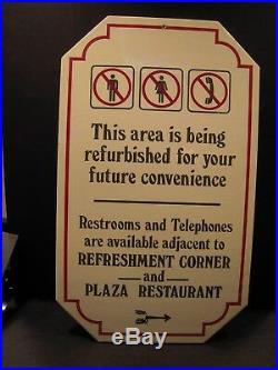 Walt Disney World Construction Sign Prop for MK Rehabs Restrooms Phone Info