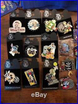 Walt Disney World Early 2000s (60+) Pin Lot & 3 lanyards RARE