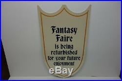 Walt Disney World Fantasy Faire steel enamel contsruction Sign Disney Classic