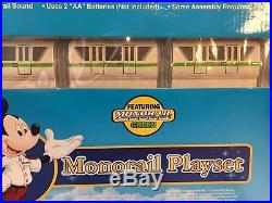 Walt Disney World Green Stripe Monorail Playset 6 Characters Lights And Sounds