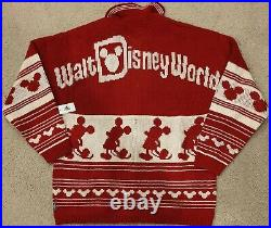 Walt Disney World Holiday Spirit Jersey Cardigan Sweater Christmas Medium NWT
