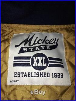 Walt Disney World Mens XXL 2XL Mickey Mouse Letterman Jacket State 28 Navy Gold