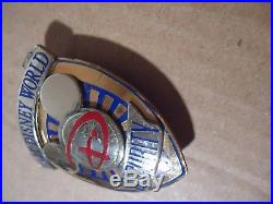 Walt Disney World Mickey Globe Security Police Officer Cast Uniform Badge Pin LG