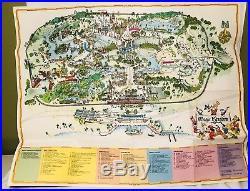 Walt Disney World Park Map Rare Magic Kingdom Guide Mickey Mouse 70s on