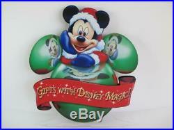 Walt Disney World Prop Display Park Sign Santa Mickey 2 Sided 3D Magic Christmas