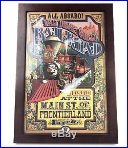 Walt Disney World Railroad Framed Frontierland Main Street Vintage Poster Print
