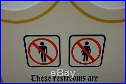 Walt Disney World Restroom Closed steel enamel constuction Sign Disney World
