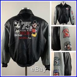 Walt Disney World Size L 75 Years with Mickey Leather Jacket Black / Grey 2003