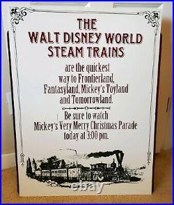 Walt Disney World Steam Trains Sign. Park Used