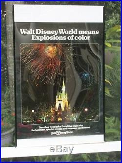 Walt Disney World Vintage 1976 Poster Fireworks Cinderella Castle Mickey Mouse